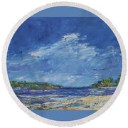Stormy Day At Picnic Island Round Beach Towel