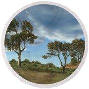 Stormy Eucalyptus Round Beach Towel