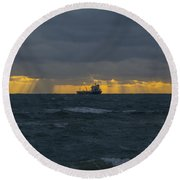 Stormy Falmouth Round Beach Towel