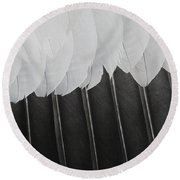 Round Beach Towel featuring the photograph Stormy Feathers by Judy Whitton
