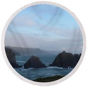Hartland Quay Storm Round Beach Towel by Richard Brookes