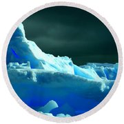 Round Beach Towel featuring the photograph Stormy Icebergs by Amanda Stadther