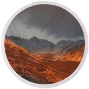 Round Beach Towel featuring the photograph Stormy Monday by Fiona Kennard
