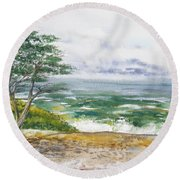 Stormy Morning At Carmel By The Sea California Round Beach Towel