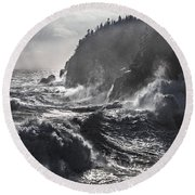 Stormy Seas At Gulliver's Hole Round Beach Towel