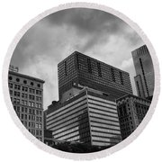 Round Beach Towel featuring the photograph Stormy Skies by Miguel Winterpacht