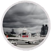 Stormy Skies Over London Round Beach Towel