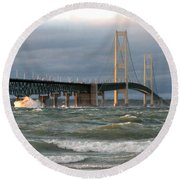 Stormy Straits Of Mackinac Round Beach Towel