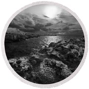 Blank And White Stormy Mediterranean Sunrise In Contrast With Black Rocks And Cliffs In Menorca  Round Beach Towel