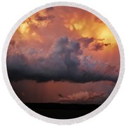 Round Beach Towel featuring the photograph Stormy Sunset by Ed Sweeney