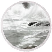 Stormy Waves Pound The Shoreline Round Beach Towel by Jeff Folger
