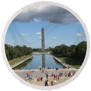 Clouds Over Monument Round Beach Towel