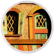 Storybook Window And Door Round Beach Towel by Rodney Lee Williams