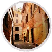 Strade Di Ciottoli Round Beach Towel by Micki Findlay
