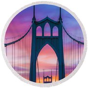 Straight Down The Bridge Round Beach Towel