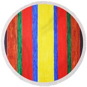 Round Beach Towel featuring the painting Vertical Lines by Stormm Bradshaw