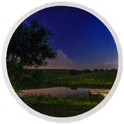 Strangers In The Night Round Beach Towel by Alexey Stiop