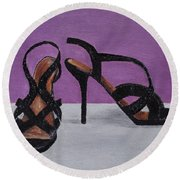 Strappy Black Heels For Maddy Round Beach Towel