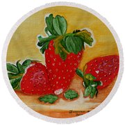 Strawberry Delight Round Beach Towel