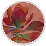 Round Beach Towel featuring the painting Strawberry Flapjack by Sandi Whetzel