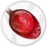 Strawberry Puddle Round Beach Towel by Dee Cresswell