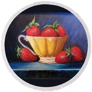 Strawberry Teacup Round Beach Towel