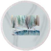 Stream Cove In Winter Round Beach Towel