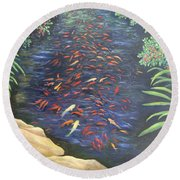 Stream Of Koi Round Beach Towel