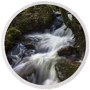 Stream On Eume River Galicia Spain Round Beach Towel