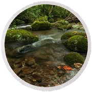 Round Beach Towel featuring the photograph Stream With The Color Of Early Fall. by Debbie Green