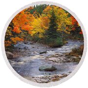 Stream With Trees In A Forest Round Beach Towel