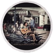 Round Beach Towel featuring the photograph Street Beats by Melanie Lankford Photography