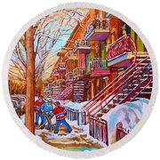 Street Hockey Game In Montreal Winter Scene With Winding Staircases Painting By Carole Spandau Round Beach Towel