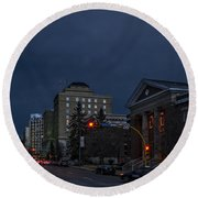 Night Street In Regina Round Beach Towel