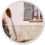 Round Beach Towel featuring the photograph Street Lamp Shadow And Window by Silvia Ganora