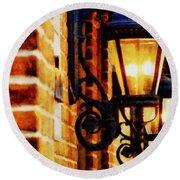 Street Lamps In Olde Town Round Beach Towel