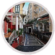 Street Of Capri Round Beach Towel