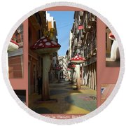 Street Of Giant Mushrooms Round Beach Towel