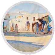 Round Beach Towel featuring the painting Street Scene From Tunisia. by Celestial Images