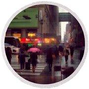 Street Scene - Seventh Avenue - New York Round Beach Towel