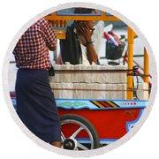 Street Seller At The Foreshore Of The Yangon River Yangon Myanmar Round Beach Towel