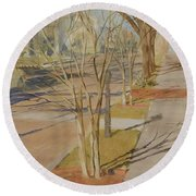 Street Trees With Winter Shadows Round Beach Towel
