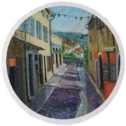 Street View From Provence Round Beach Towel