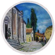 Street View In Rovinj Round Beach Towel