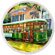 Streetcar On St.charles Avenue Round Beach Towel