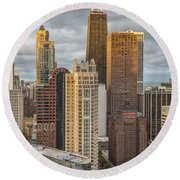 Streeterville From Above Round Beach Towel by Adam Romanowicz