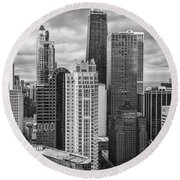 Streeterville From Above Black And White Round Beach Towel by Adam Romanowicz