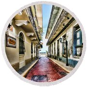 Streets Of El Casco Viejo 2  Round Beach Towel