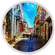Streets Of Lisbon 1 Round Beach Towel by Mary Machare