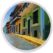 Streets Of Old San Juan Round Beach Towel by Stephen Anderson